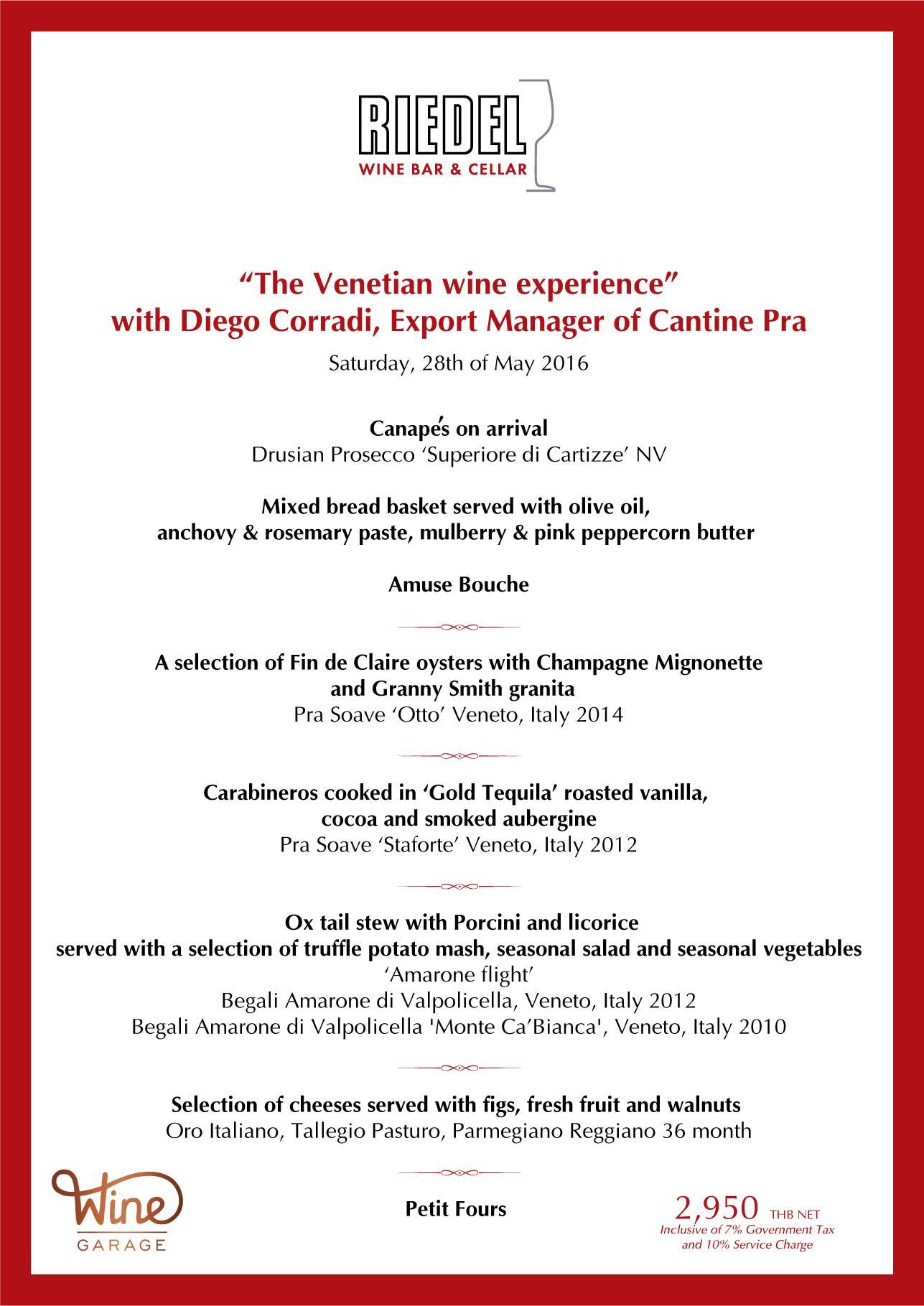 Menu Riedel Wine Bar Veneto Cru Dinner May 28 2016