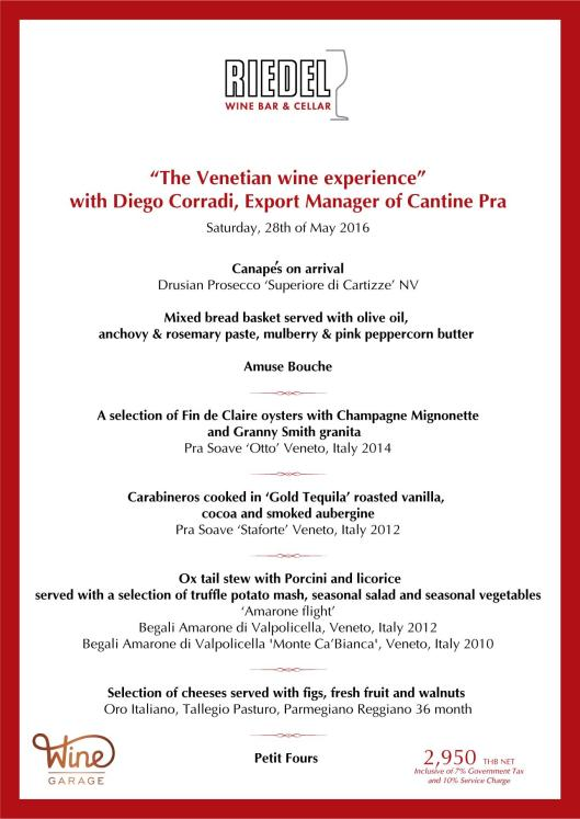 Menu Riedel Wine Bar Veneto Cru Dinner May 28 2016