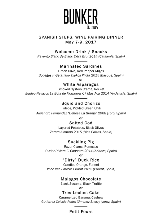 Microsoft Word - Bunker Spanish Dinner Wine Pairings (Update 4.0