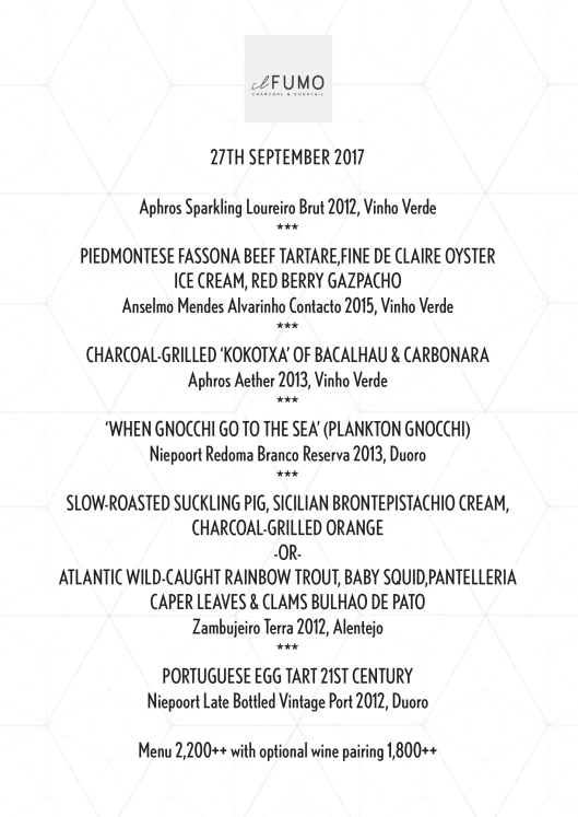WG Il Fumo Portuguese Dinner Menu Sep 27 2017