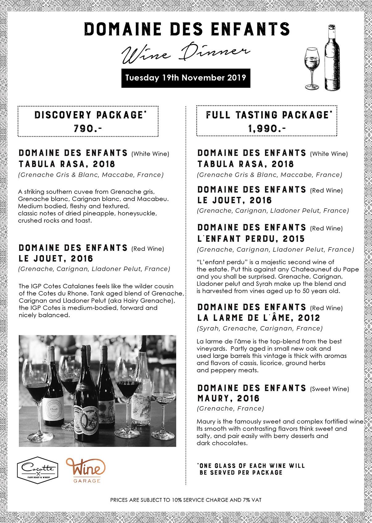Cocotte Domaine Enfants wine menu Nov 19 2019
